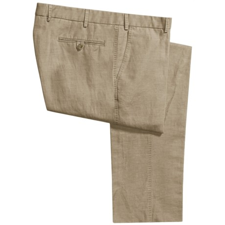Hiltl Dorigo Pants - Cotton-Linen, Flat Front (For Men) in Med Beige