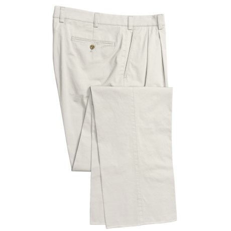 Hiltl Nano Bionic Giza Pants - Stretch Cotton, Double-Reverse Pleats (For Men) in Stone