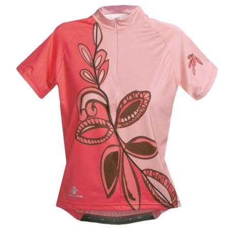 Hincapie Meadow Cycling Jersey - Half-Zip, Short Sleeve (For Women) in Pink Petals