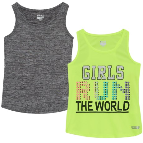 Hind Active Tank Top - 2-Pack (For Big Girls) in Girls Run The World/Yellow/Black Heahte