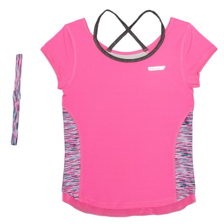 Hind Contrast Binding T-Shirt - Short Sleeve (For Big Girls) in Pink/Multi