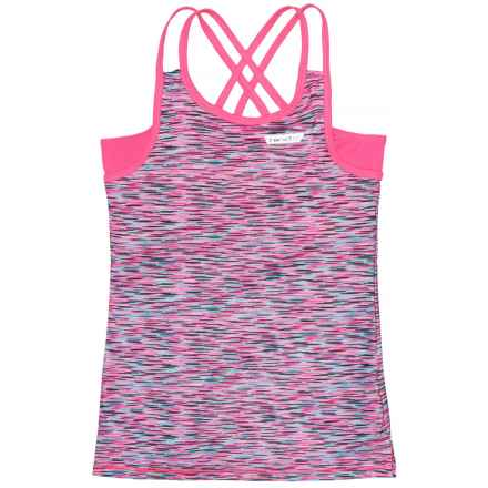 Hind Double-Strap Tank Top - Built-In Bra (For Big Girls) in Pink/Multi - Closeouts