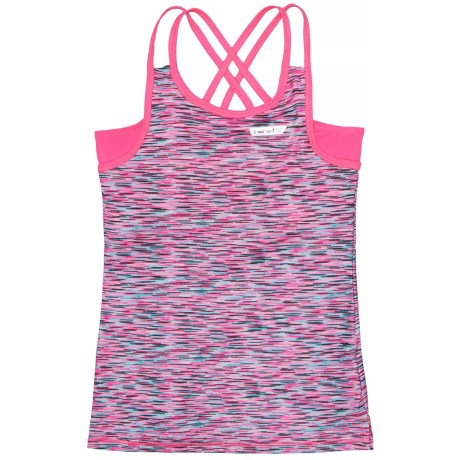 Hind Double-Strap Tank Top - Built-In Bra (For Big Girls) in Pink/Multi
