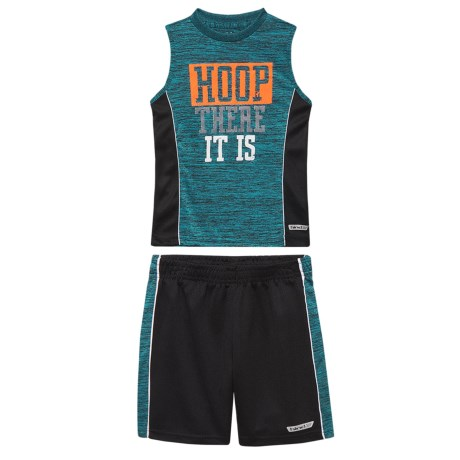 Hind Graphic Muscle Tank Top and Shorts Set (For Toddler Boys) in Turquoise Heather/Black