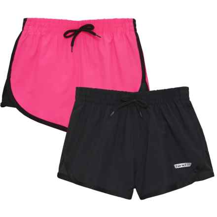 Hind Loose Woven Shorts - Built-In Brief, 2-Pack (For Big Girls) in Hot Pink/Black/Black/Black - Closeouts