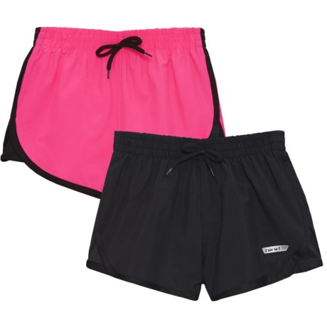 Hind Loose Woven Shorts - Built-In Brief, 2-Pack (For Big Girls) in Hot Pink/Black/Black/Black