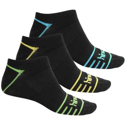 Hind Micro No-Show Socks - 3-Pack, Below the Ankle (For Men) in Black/Tipped - Closeouts