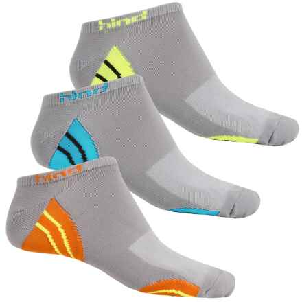Hind Micro No-Show Socks - 3-Pack, Below the Ankle (For Men) in Silver/Logo - Closeouts