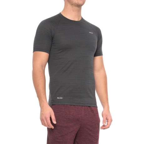 Hind Space-Dyed Mesh Heather T-Shirt - Crew Neck, Short Sleeve (For Men) in Black