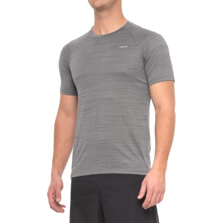 Hind Space-Dyed Mesh Heather T-Shirt - Crew Neck, Short Sleeve (For Men) in Grey Pinstripe
