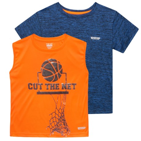 Hind T-shirt and Tank Top Set - 2-Pack (For Big Boys) in Orange/Navy Heather