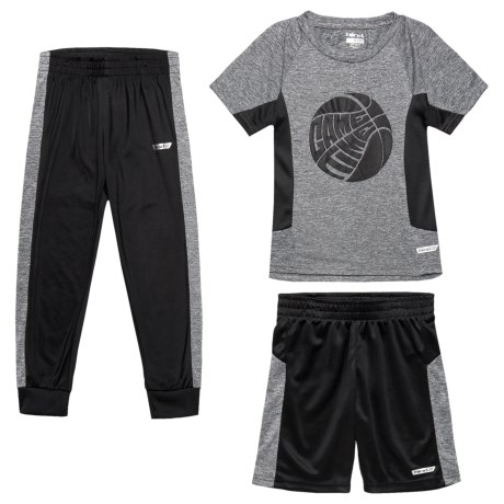 Hind T-Shirt with Shorts and Pants - Short Sleeve (For Little Boys) in Grey Heather/Black