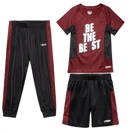 Hind T-Shirt with Shorts and Pants - Short Sleeve (For Little Boys) in Red Heather/Black