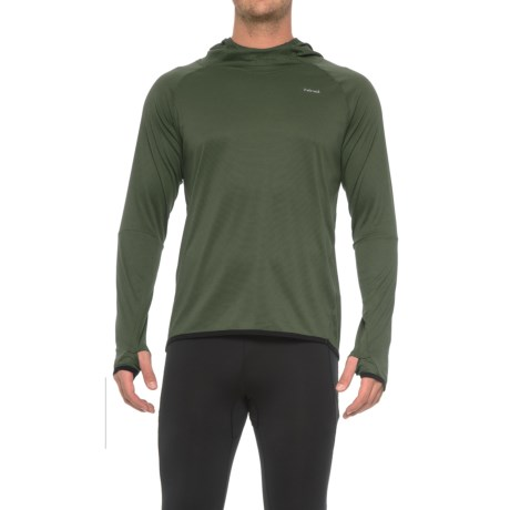 Hind Textured Wicking Hooded Shirt - Long Sleeve (For Men) in Light Olive