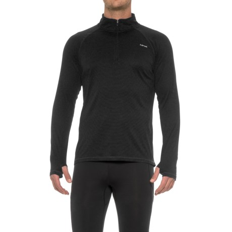 Hind Textured Wicking Zip Neck Shirt - Long Sleeve (For Men) in Black