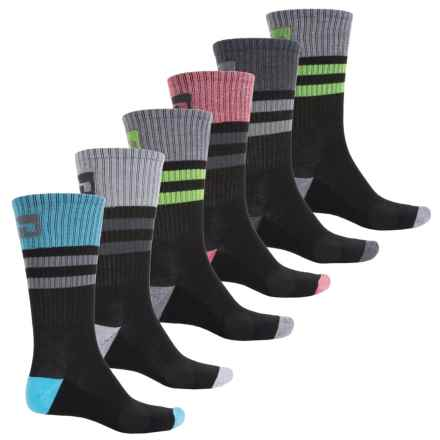 Hind Tipped Stripe Socks - 6-Pack, Crew (For Men) in Black - Closeouts