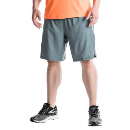 Hind Two-Layer Stretch Shorts - Built-In Shorts (For Men) in Dark Shadow/Green Apple - Closeouts