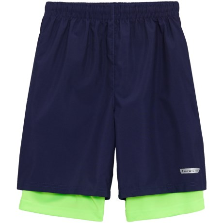 Hind Woven Shorts - Built-In Lining (For Big Boys) in Navy/Neon Green
