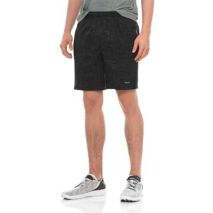 "Hind Woven Stretch Shorts - 9"", Built-In Brief (For Men) in Black Print - Closeouts"