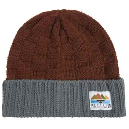 HippyTree Capitola Checker Knit Beanie (For Men) in Rust - Closeouts