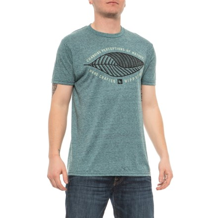 1e3f197db1f HippyTree Heather Teal Wave Palm T-Shirt - Short Sleeves (For Men) in
