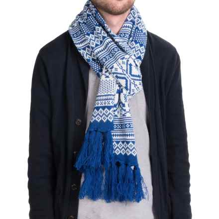 Hipster Fair Isle Scarf (For Men and Women) in Blue/White - Closeouts