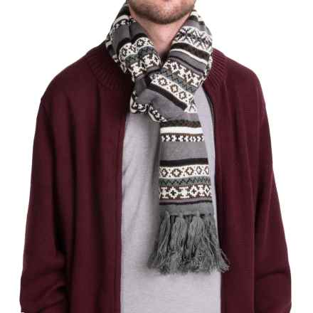 Hipster Fair Isle Scarf (For Men and Women) in Charcoal - Closeouts