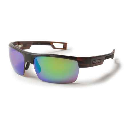 Hobie Manta Sunglasses - Hydro Infinity Polarized Lenses in Satin Brown Wood Grain/Copper/Sea Green Mirror - Closeouts