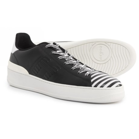 HOGAN Made in Italy Lace-Up Sneakers - Leather (For Men) in Black/White