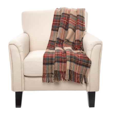 "Hogarth Antique Dress Stewart New Wool Throw Blanket - 55x72"" in Tan - Closeouts"