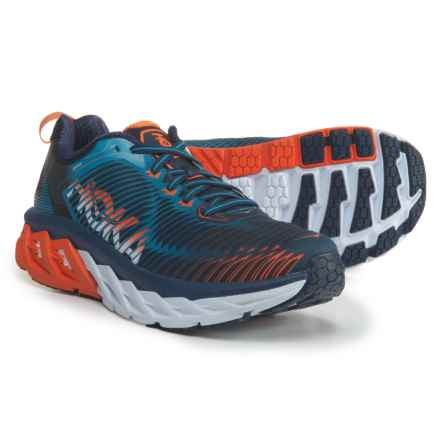 Hoka One One Arahi Running Shoes (For Men) in Medieval Blue/Red Orange - Closeouts