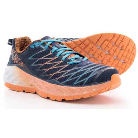 Hoka One One Clayton 2 Running Shoes (For Men) in Medieval Blue/Persimmon Orange - Closeouts