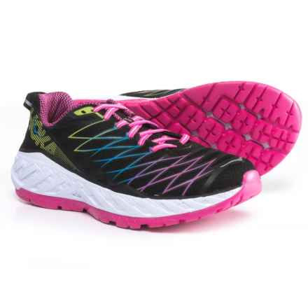 Hoka One One Clayton 2 Running Shoes (For Women) in Black/Fuchsia/Green Glow - Closeouts