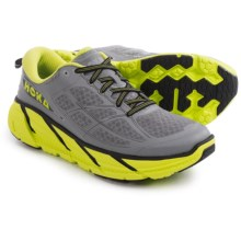 Hoka One One Clifton 2 Running Shoes (For Men) in Grey/Acid - Closeouts