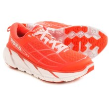 Hoka One One Clifton 2 Running Shoes (For Women) in Neon Coral/White - Closeouts