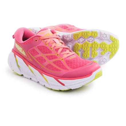 Hoka One One Clifton 2 Running Shoes (For Women) in Neon Pink/Acid - Closeouts
