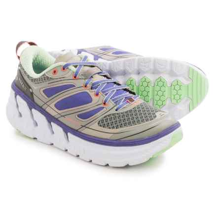 Hoka One One Conquest 2 Running Shoes (For Women) in Grey/Blue/Neon Coral - Closeouts