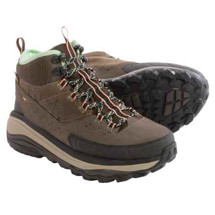 Hoka One One Tor Summit Mid Hiking Boots - Waterproof (For Women) in Brown/Patina Green - Closeouts