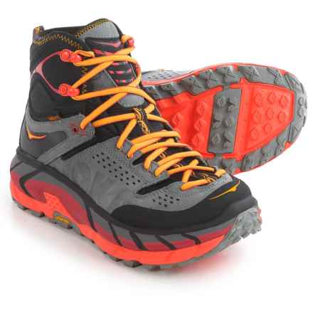 Hoka One One Tor Ultra Hi Hiking Boots - Waterproof (For Women) in Black/Flame - Closeouts