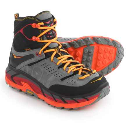 Hoka One One Tor Ultra Hi WP Hiking Boots - Waterproof (For Men) in Black/Flame - Closeouts