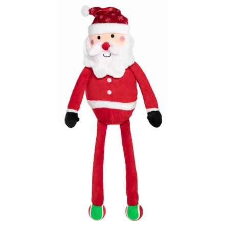 Holiday Dog Toy Jumbo Plush Santa Dog Toy with Attached Tennis Balls - Squeaker in Santa - Closeouts