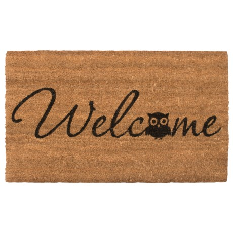 "Home and More Barn Owl Coir Doormat - 17x29"" in Natural/Black"