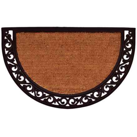"Home and More Half Moon Doormat - 18x30"", Coir and Rubber, Scroll Trim in Vine Border - Closeouts"