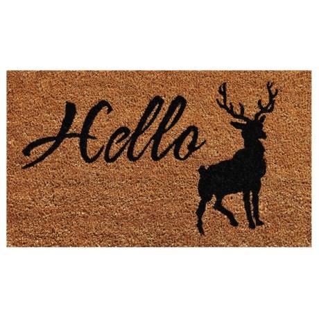 "Home and More Hello Elk Coir Doormat - 17x29"" in Natural/Black"