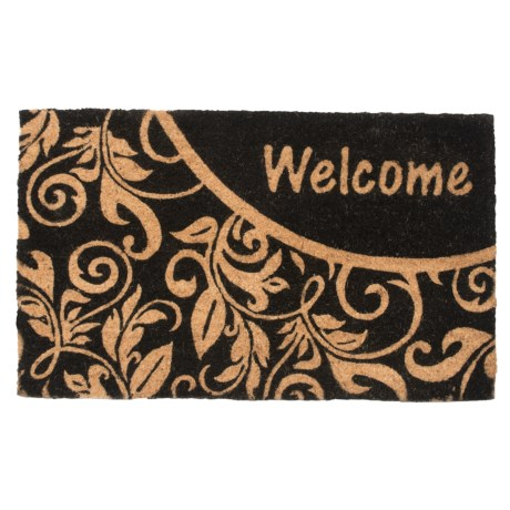 "Home and More Welcome Vine Print Doormat - 18x30"" in Black/Natural"