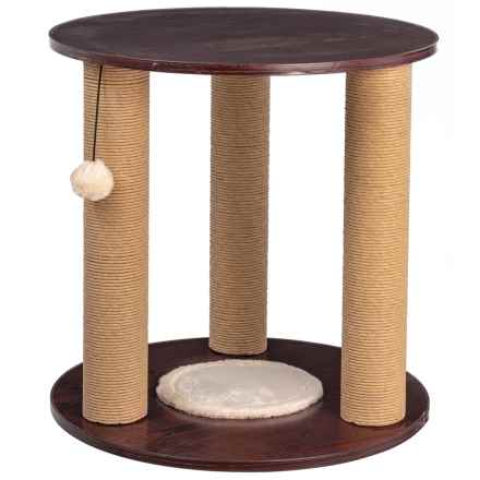 """Home Base Round Cat Furniture End Table - 19.6"""" Diameter in Walnut - Closeouts"""