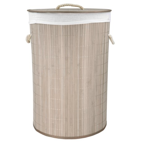 Home Basics Folding Bamboo Round Hamper in Grey