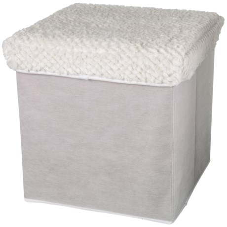 "Home Basics Fuzzy Top Storage Ottoman - 16x16"" in Ivory"