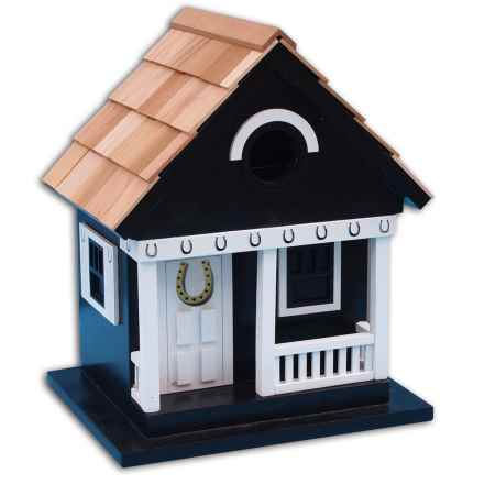 Home Bazaar Beachcomber Cottage Birdhouse in Black Horseshoe - Closeouts