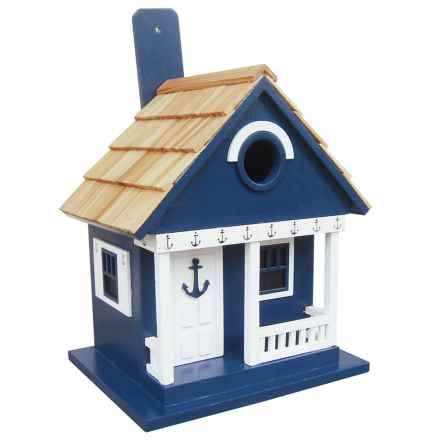 Home Bazaar Beachcomber Cottage Birdhouse in Navy Anchor - Closeouts